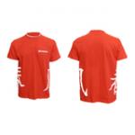 Футболка мужская красная с белой отделкой с иероглифами