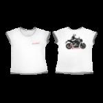 Футболка белая с отделкой с мотоциклом